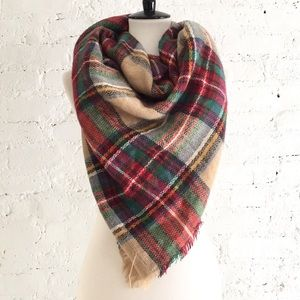 Colorful plaid blanket scarf